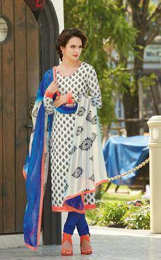 USD 48.74 White Printed Pakistani Salwar Suit 31178