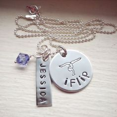 I Flip Hand Stamped Necklace, Sterling Silver Necklace, Girls Necklace, Gymnastics, Name Necklace, Birthstone