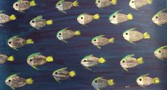 New to SissysFolkArt on Etsy: School of Fish Floor Cloth/Poster (125.00 USD) Floor Cloth, Fish, Flooring, Trending Outfits, School, Unique Jewelry, Handmade Gifts, Poster, Painting