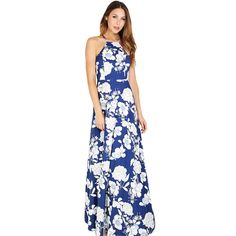 SheIn Womens Summer Maxi Dresses  New Arrival Ladies Sleeveless Blue Halter Neck Floral Print Vintage A Line Dress Who like it ? Visit us