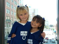 My Colts girls in Downtown Indy. We were headed to a pregame pep rally, I think.