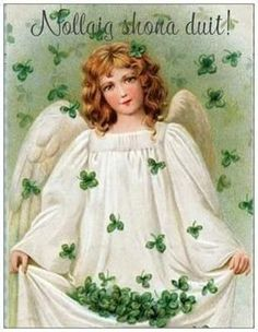 Shamrock Angel - A Vintage St. Patrick's Day greeting card illustration - circa This image is part of a collection of 12 Vintage St Patrick Art images Saint Patricks Day Art, St Patricks Day Cards, Vintage Postcards, Vintage Images, Vintage Cards, Vintage Clip, Photo Postcards, St Patrick's Day, Art Magique