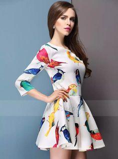 热带鸟类绚丽彩色印花五分袖中袖高腰A字裙溜冰裙连衣裙 haoduoyi-tmall.com天猫