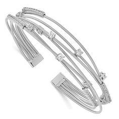 Cheryl M Sterling Silver Rhodium-plated Multi-strand CZ Bangle / STYLE: QCM1510 #CZBangle #CherylM #SterlingSilver Cheryl, Jewelry Trends, Body Jewelry, Plating, Bangles, Sterling Silver, Style, Bracelets, Swag