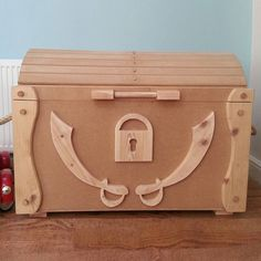Wooden Pirate Treasure Chest Toy Box