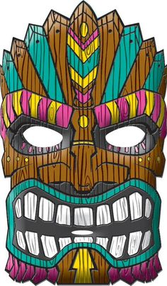 Don't let the facade fool you! There's a party behind every Tiki Mask. This fun Luau party mask features a large island tiki ready for party fun.
