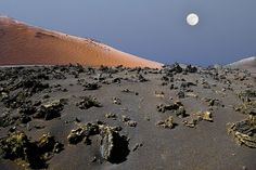 Moon in volcano, National Park Timanfaya, Lanzarote, Las Palmas de Gran Canaria_ Spain