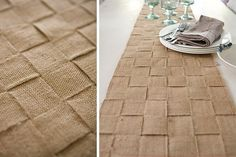 Rough burlap transforms into quite a chic table runner. Click for other Chic DIY Burlap Projects...