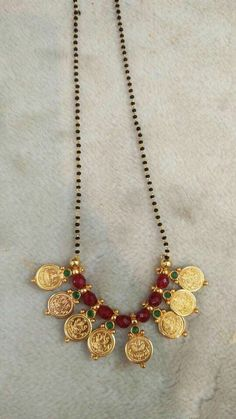 Traditional South Indian Lakshmi pendant mangalsutra