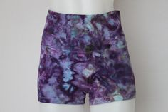 Tie dye Yoga Shorts Ice Dyed Fold down waist - Size small - Helen's Iris Patch crinkle by ASPOONFULOFCOLORS on Etsy