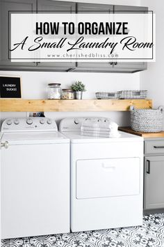 How to Organize a Small Laundry Room - Bless'er House Do laundry in style in this Modern Farmhouse Laundry Room. Come see the transformation from builder grade to gorgeous on a low budget! #laundryroom #modernfarmhouse