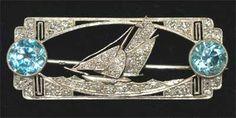 Art Deco Platinum Diamond Zircon Sailboat Pin