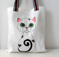 Cat  Tote Bag Handpainted Cat Illustration by ShebboDesign on Etsy, $29.00