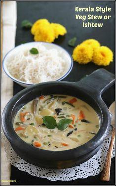 Kerala Style Vegetarian Stew or Ishtew Recipe – Masalachilli - A Complete Vegetarian Food Experience! Vegetarian Stew, Vegetarian Cooking, Vegetarian Recipes, Cooking Recipes, Vegetarian Breakfast, Indian Breakfast, Breakfast Dishes, Curry Recipes, Easy Cooking