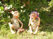 Heinz and Helga Diorama, Garden Sculpture, Outdoor Decor, Polymer Clay, Elves, Dioramas