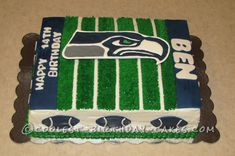 Coolest Seahawk Football Cake... This website is the Pinterest of birthday cake ideas