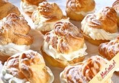 Puff pastry with cream French Deserts, Sweet Little Things, Polish Recipes, Eclairs, Food Illustrations, Pretzel Bites, Cake Cookies, Baked Goods, Cookie Recipes
