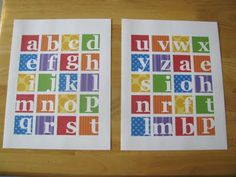 #Printable ABC squares.  Use as magnets, cupcake toppers, mount on chipboard, make into blocks, etc.!
