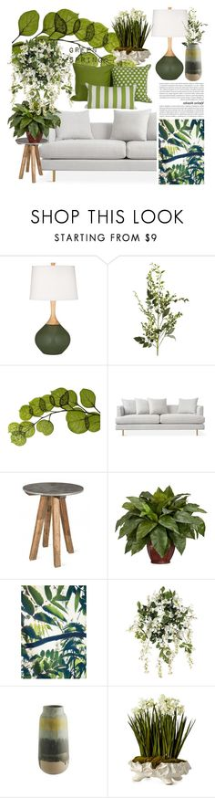 """Spring: Green"" by kikiseppr on Polyvore featuring interior, interiors, interior design, home, home decor, interior decorating, Pier 1 Imports, Dot & Bo, Nearly Natural and Sunbrella"