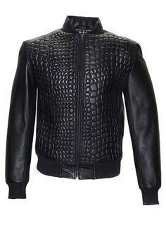 CrabRocks Designer Men Crocodile Quilted Leather Bomber Jacket is styled with crocodile embroidery. starting at $139.00 USD  FREE SHIPPING WORLDWIDE ABOVE $ 100 Best at Customized Leather Products Write us info@leatherfashiononline.com
