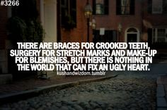 You can't fix an ugly heart. The only ugly people I know are ugly to me because who they have shown me, through their actions, that they are ugly hearted. Steer clear of these folks. No surgeon in the world who can fix an ugly heart