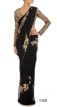 Black Sari- This would look nice without the floral part. maybe sub in a nice subtle gold border.