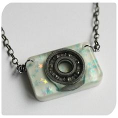Roller Derby Bearing Necklace  hand cast resin by HandmadeRinkrash, $15.00