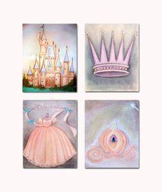 Princess Wall Art, SET OF 4 Prints, Princess Nursery, Princess Girls Room, Nursery Decor, Cinderella, Kids Baby Nursery, Princess Room on Etsy, $54.00