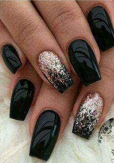 Black Nails With Glitter, Black Coffin Nails, Black Acrylic Nails, Black Nail Art, Matte Black, Black Gold, Black Manicure, Acrylic Art, Black Art