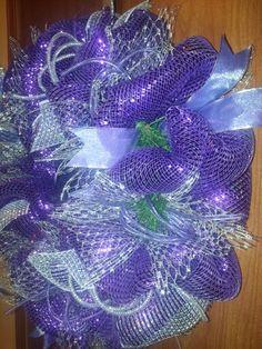 Purple and silver mesh Christmas Wreath.