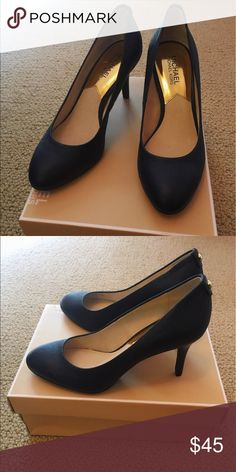 Michael Kors Navy Leather Heels Beautiful Michael Kors Navy Leather Heels.  Only worn once. KORS Michael Kors Shoes Heels