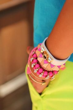 bright colors. arm candy +++For guide + ideas on #style and #fashion, Visit http://www.makeupbymisscee.com/