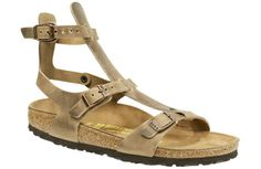 Birkenstock Chania Tobacco Oiled Leather $120   A sandal for the urban gladiatress! This delicate sandal is designed for adventurous women on the go, with three points of adjustment for a perfect fit. Unlike its predecessor, this one has Birkenstocks classic cork footbed for perfect support. Unless youre riding a chariot and scraping the dust with your feet, the soles on this style will last a lot longer and can be replaced if they wear out.