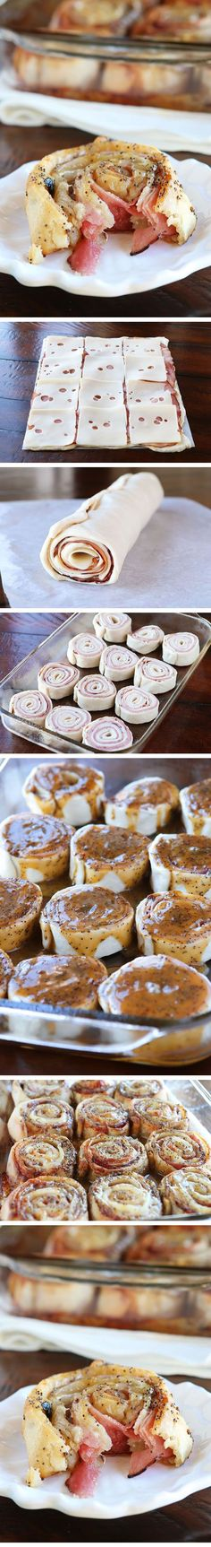 Hot Ham & Cheese Party Rolls with a Brown Sugar Poppy Seed Glaze. Perfect for taking to friends, new moms, and family because you can assemble it the night before and bake it the next day.