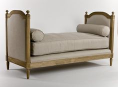 GORGEOUS ROMANTIC FRENCH STYLE BIANCA LINEN GREY OAK DAY BED,BENCH,71''WIDE
