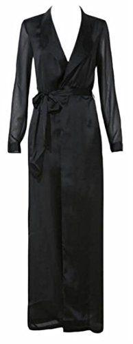 GenericWomen Generic Women's Long Sleeve Belted Satin Maxi Duster Coat