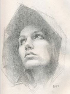 This is a pencil sketch of a young, realistic looking woman from looking up to her on paper. It caught my eye because the features of the woman was made through marking making then later started to add value to it using their graphite pencil. Improvement wise, what I would do is add more value because the hood looks flat. Also to lighten the face on some parts. Overall it needs more extensions for the background and should add extension lines to make the shoulders and neck.