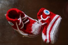 Unique baby boy gift - Red Converse Inspired Baby Booties for boys or punk baby girls, knitted