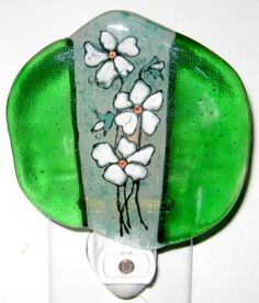 Fused Glass Night Light  White Violets  Flowers  Hostess by Chris1, $25.00