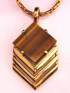 "Vintage EISENBERG Tiger's Eye Pendant Necklace, 20"" #Eisenberg"