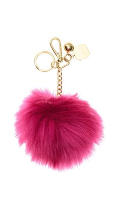 9cd2e44125 Hot pink Fox Fur Pompom bag charm pendant Fur Pompoms keychain with flower  clover charm in silver. See more. H m Fashion