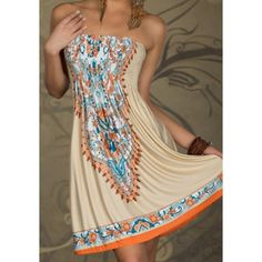 Bohemian Strapless Printed A-Line Dress For Women