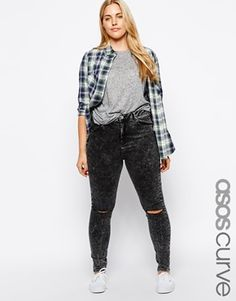 Enlarge ASOS CURVE Ridley Skinny Jean in Smoked Black with 2 Rips