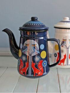 Folklore Coffee Pot Blue