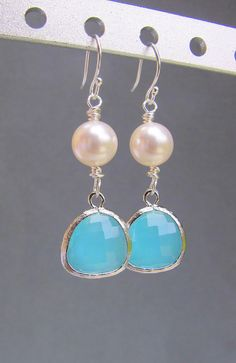 Aqua Blue Opal and White Pearl Earrings in by RedEnvelopeGifts, $24.00