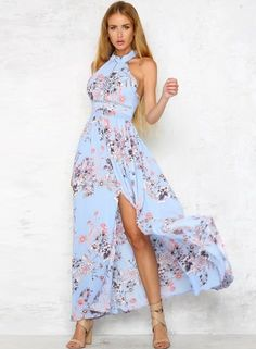 The dress is featuring halter neck, sleeveless, backless, off the shoulder, floral printed, high slit, elastic waist and maxi length.;Polyester, soft and comfortable;The dress is featuring halter neck, sleeveless, backless, off the shoulder, floral printe