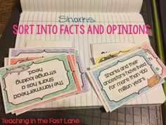 Teaching In The Fast Lane: Shark Week Blog Hop and Freebie....My Shark Week freebie is a quick and easy interactive notebook activity for students to use when they are distinguishing between fact and opinion. The activity includes statements about sharks for students to sort into fact or opinion pockets that are glued into their notebook. It would also make a great station or small group activity...