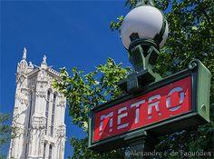 Metro sign and Tour Saint-Jacques, Paris, France