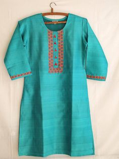 Kosa silk knee length kurta with hand done embroidery Kutch Work, Kurti Neck, Cover Up, Cross Stitch, Tunic Tops, Embroidery, Silk, Trending Outfits, Etsy