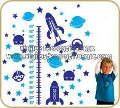 Vinilos infantiles tabla de crecimiento, regla medidora de vinil decorativo de naves espaciales http://www.vinilosdecorativosmx.com/